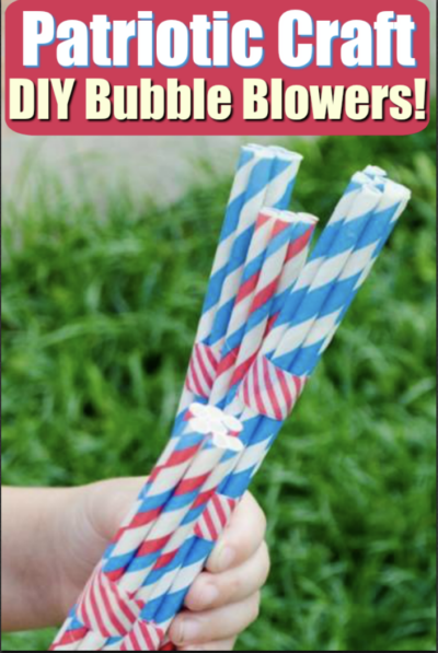 child holding patriotic bubble blower craft