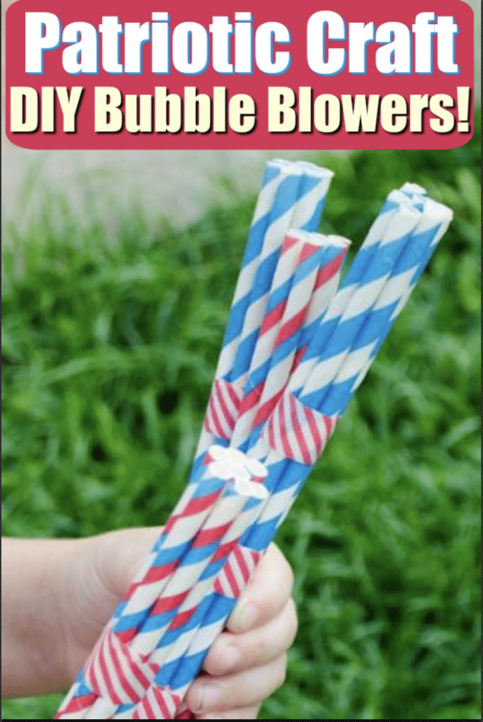 child holding patriotic bubble blowers craft
