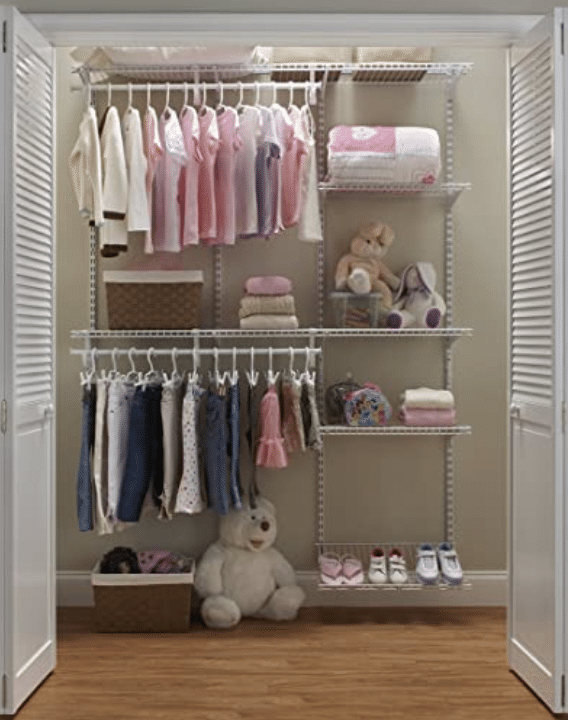 organizing shelves for cleaning the closet