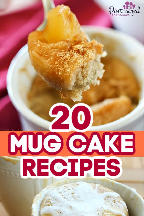 mug cakes baked and ready to serve