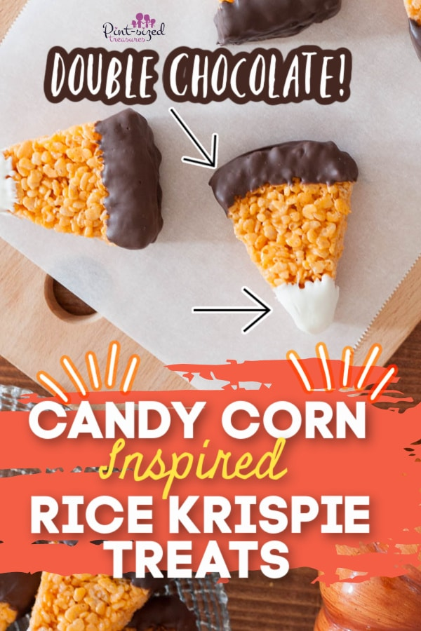 candy corn Rice Krispie treats on serving tray