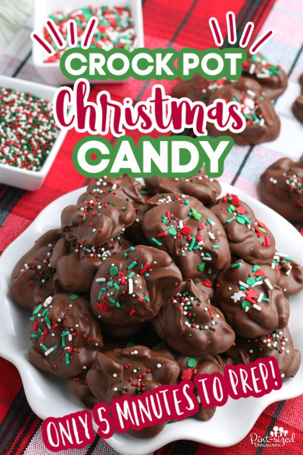 crock pot candy being served at Christmas