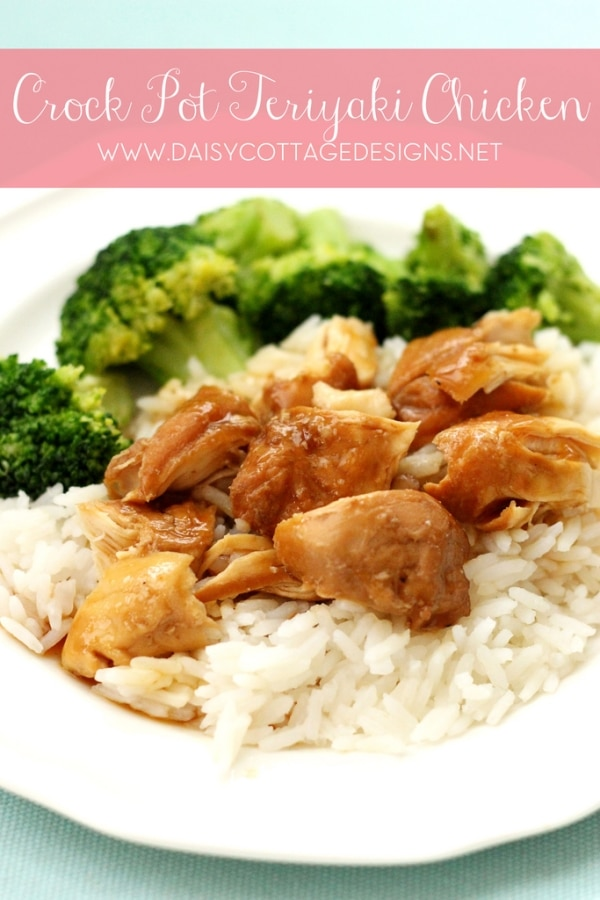crock pot chicken teriyaki on a plate of rice