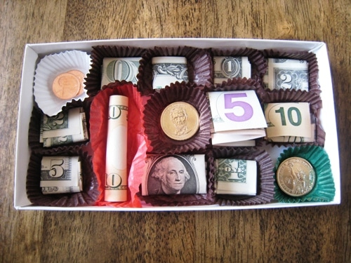 giving cash in a chocolate box