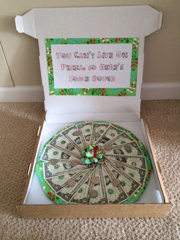 giving money as a gift inside an empty pizza box