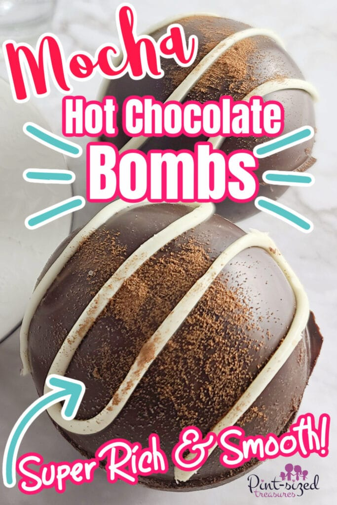 mocha hot chocolate bombs dusted with cocoa powder