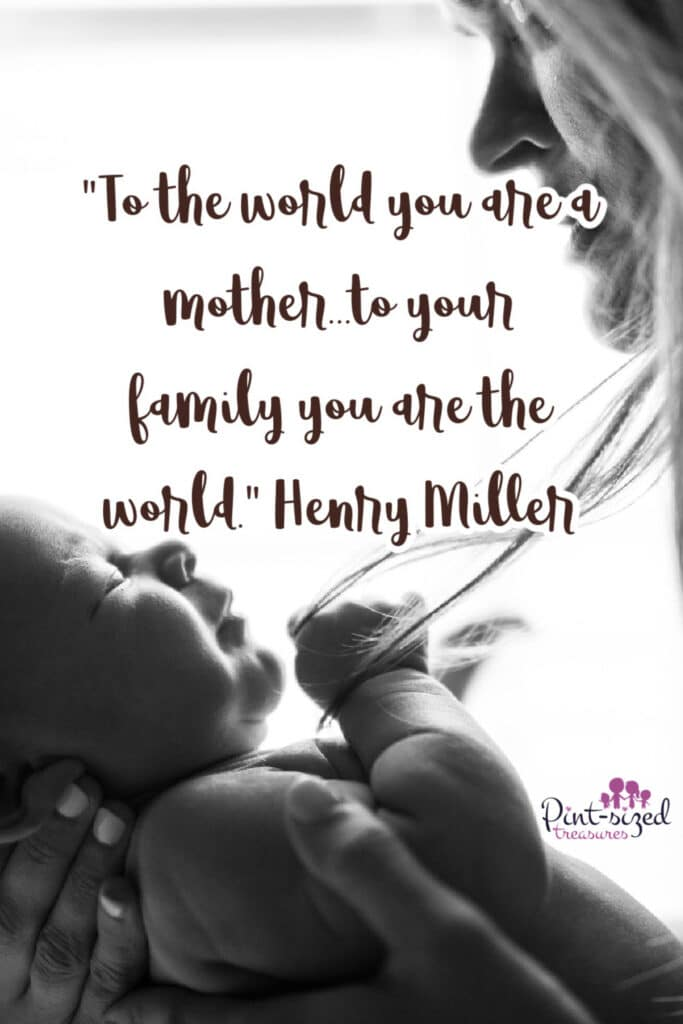 a quote about motherhood for a mother holding her baby