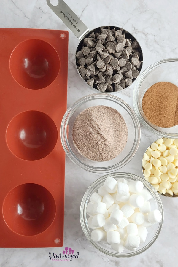 ingredients needed to make mocha hot chocolate bombs