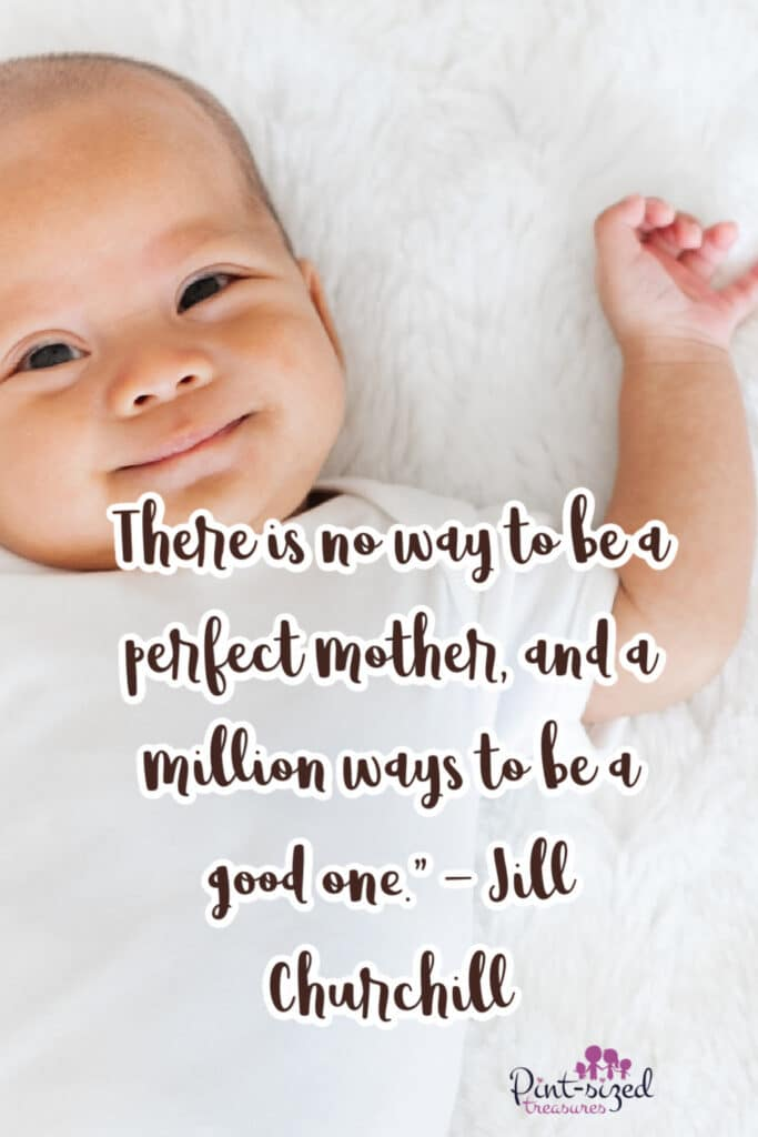 smiling baby on bed with words about mom quotes