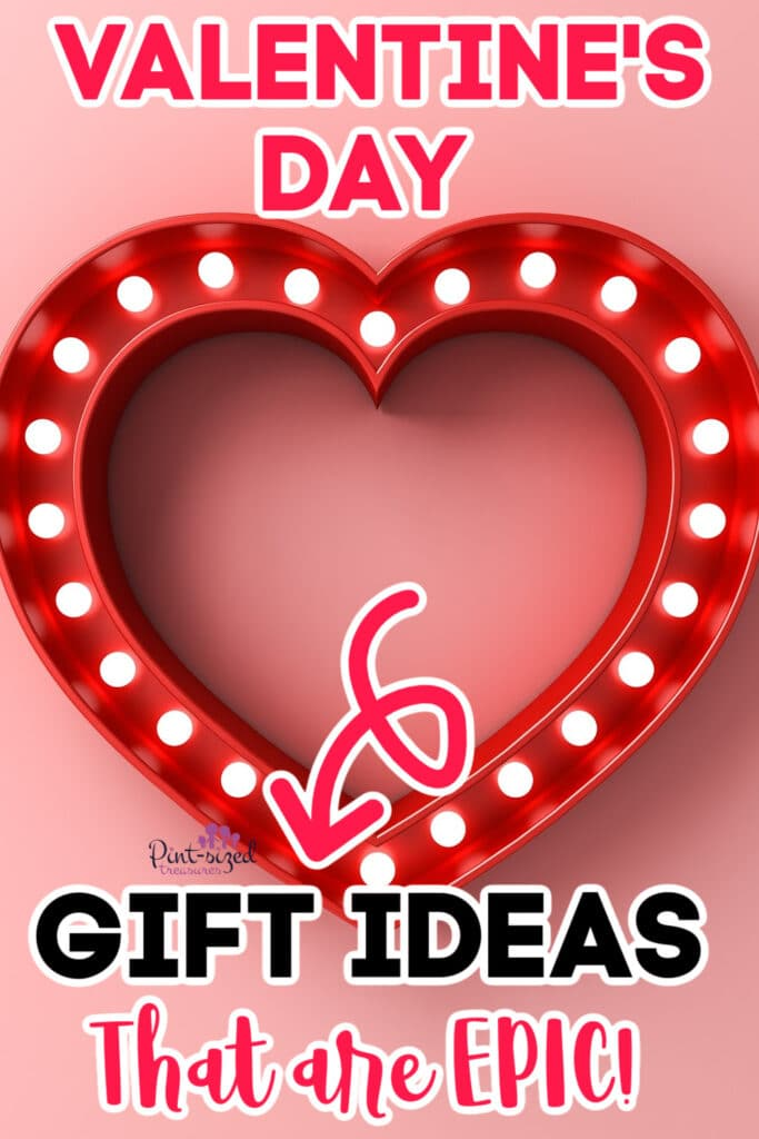 a heart shaped light that says Valentine's Day gift ideas