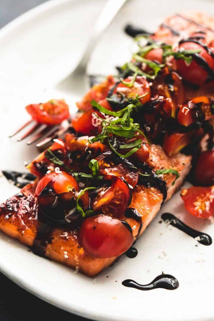 salmon drizzled in balsamic vinegar