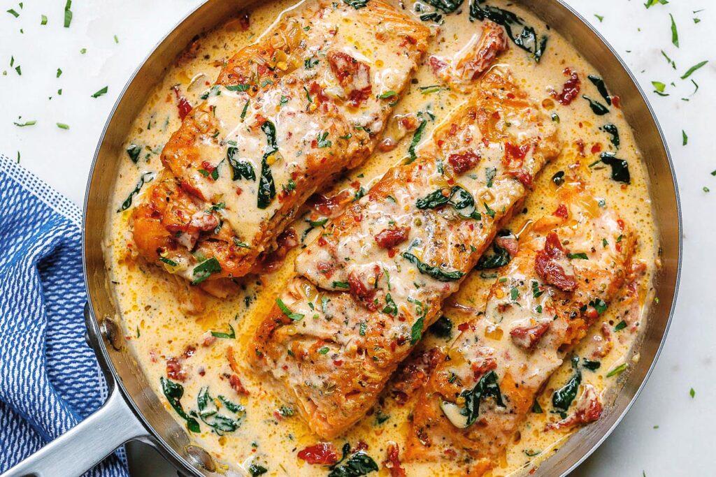 garlic tuscan salmon in skillet