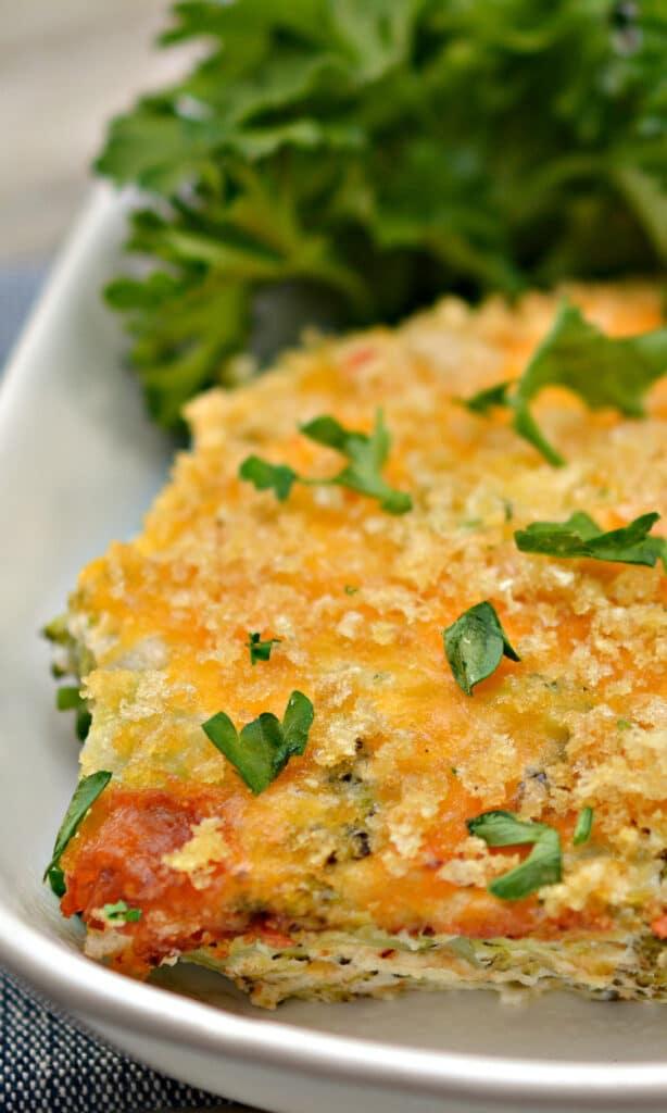 keto broccoli casserole in baking dish