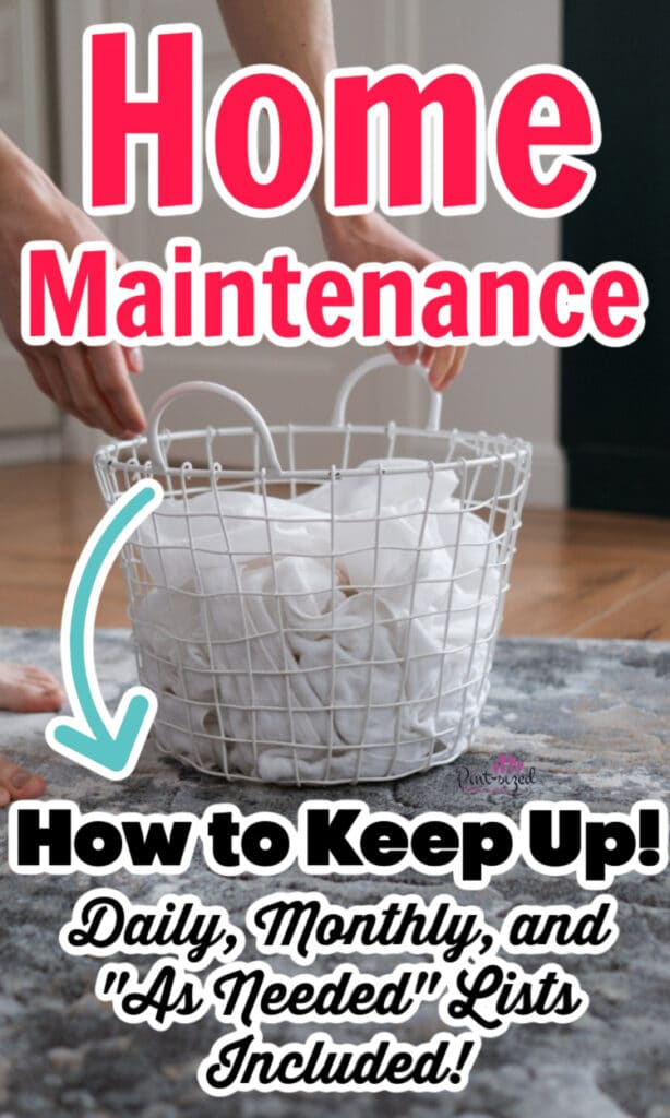 laundry basket full of clothes for home maintenance