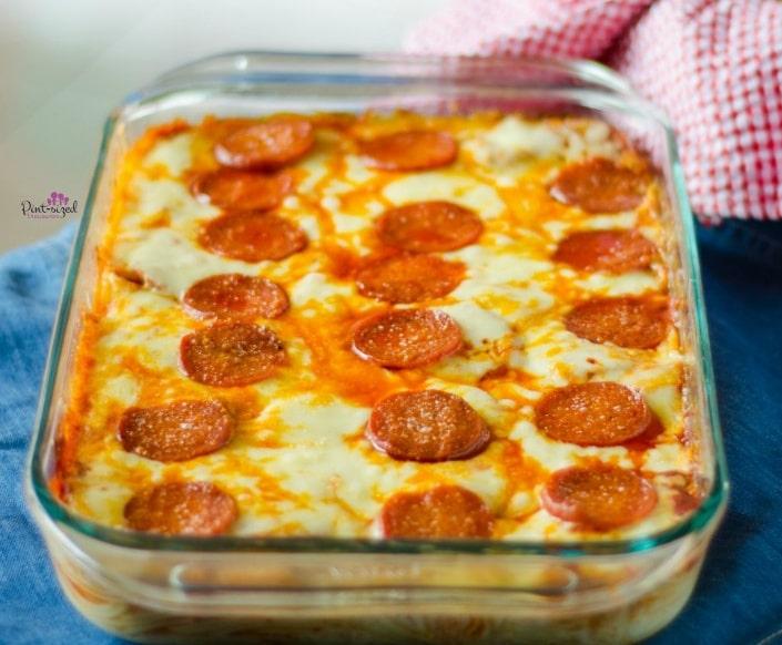 pizza spaghetti in casserole dish