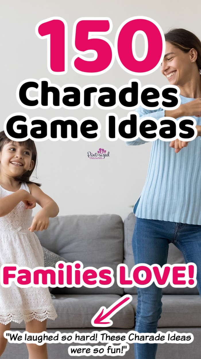 mother and daughter playing charades