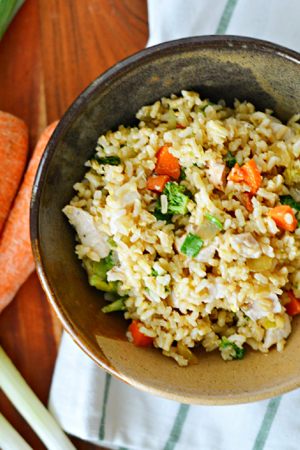 easy chicken fried rice recipe in bowl