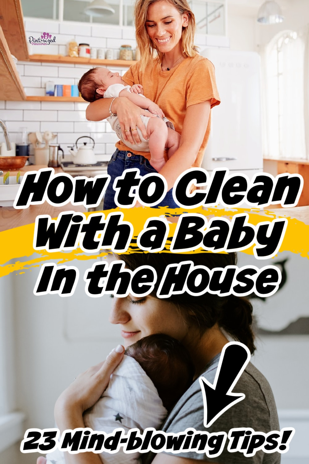 moms holding babies as they clean the house