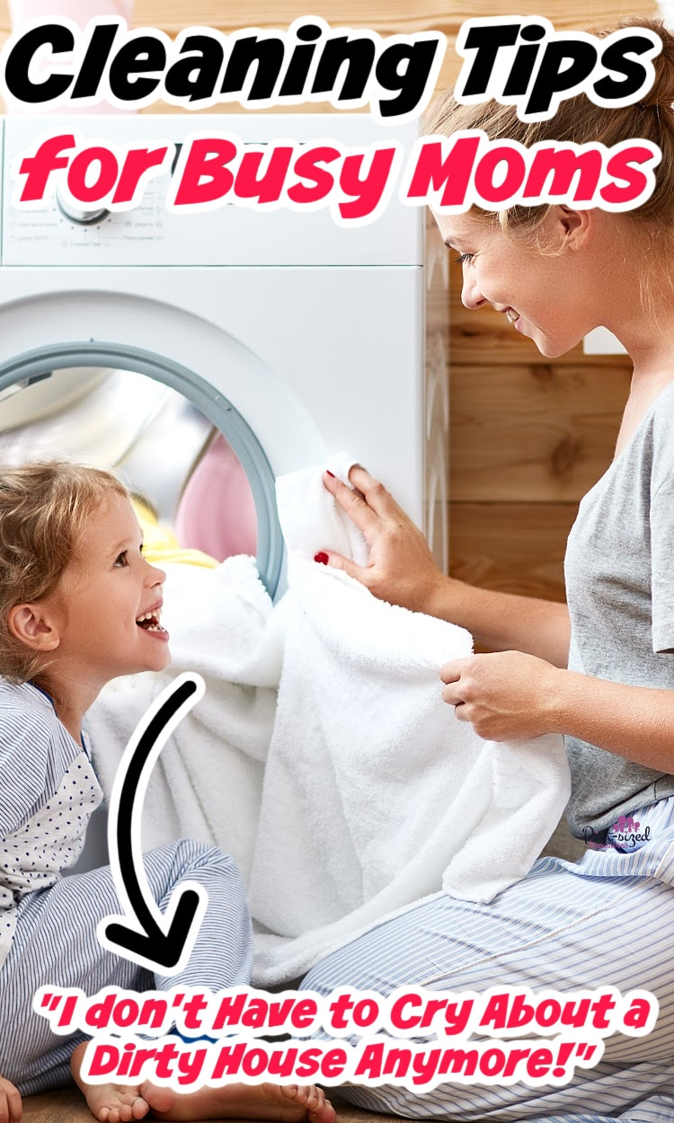 mom putting laundry into washing machine while cleaning house