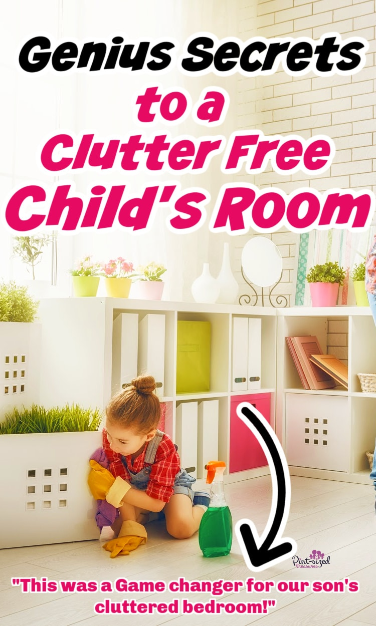 child and mom cleaning room so It will be clutter free