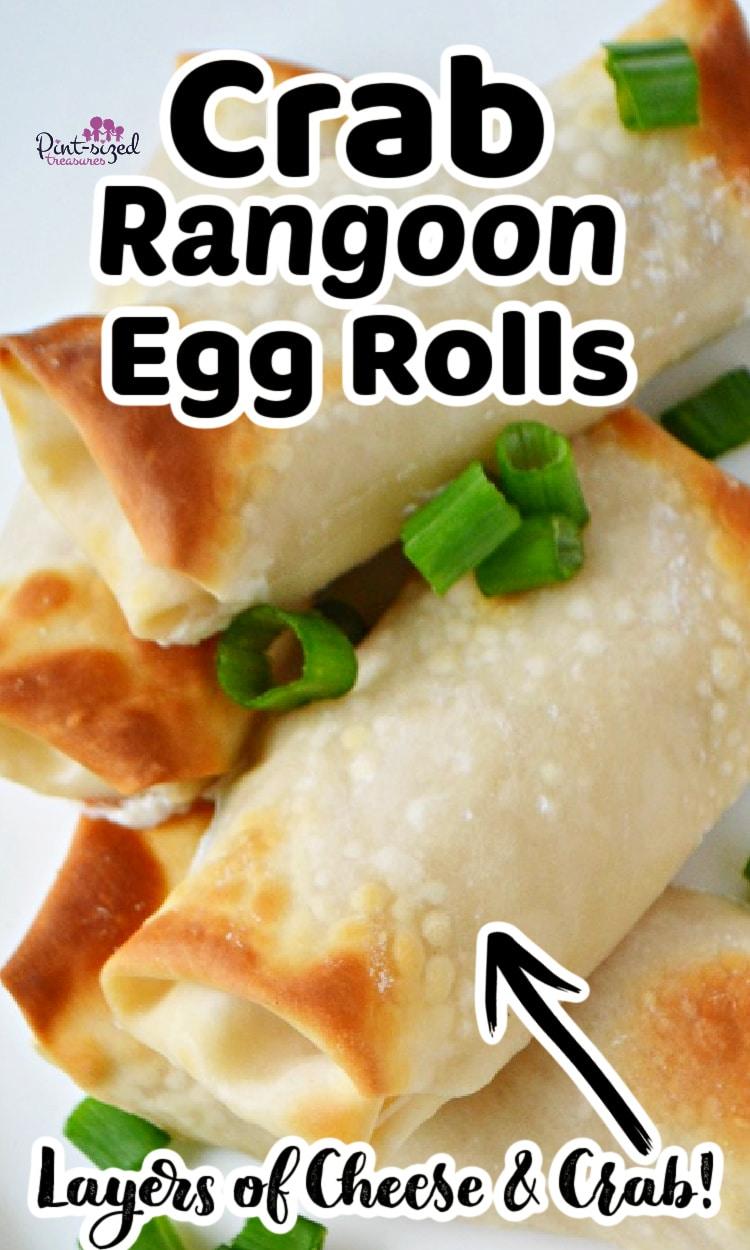 crab rangoon egg rolls ready to serve