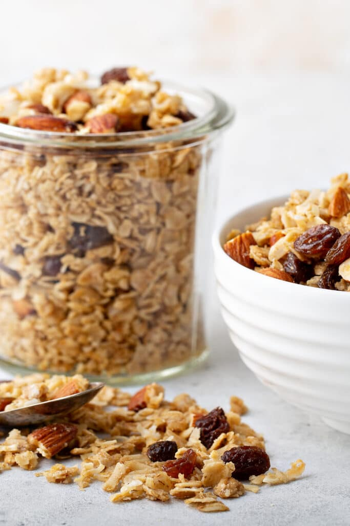 granola spilling out of bowl