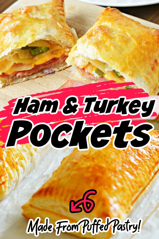 ham and turkey pockets on baking sheet