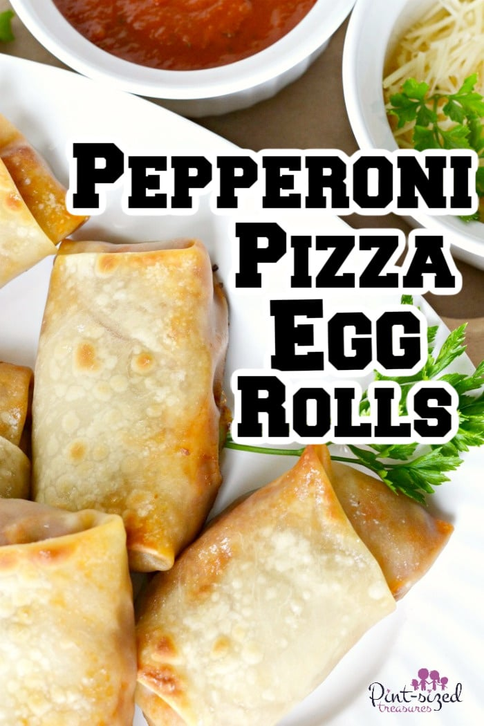 pepperoni pizza egg rolls on a plate
