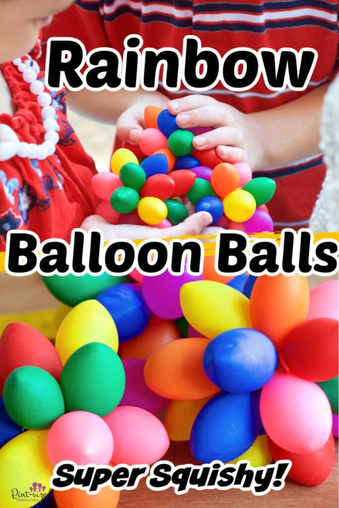 kids putting together the rainbow balloon balls