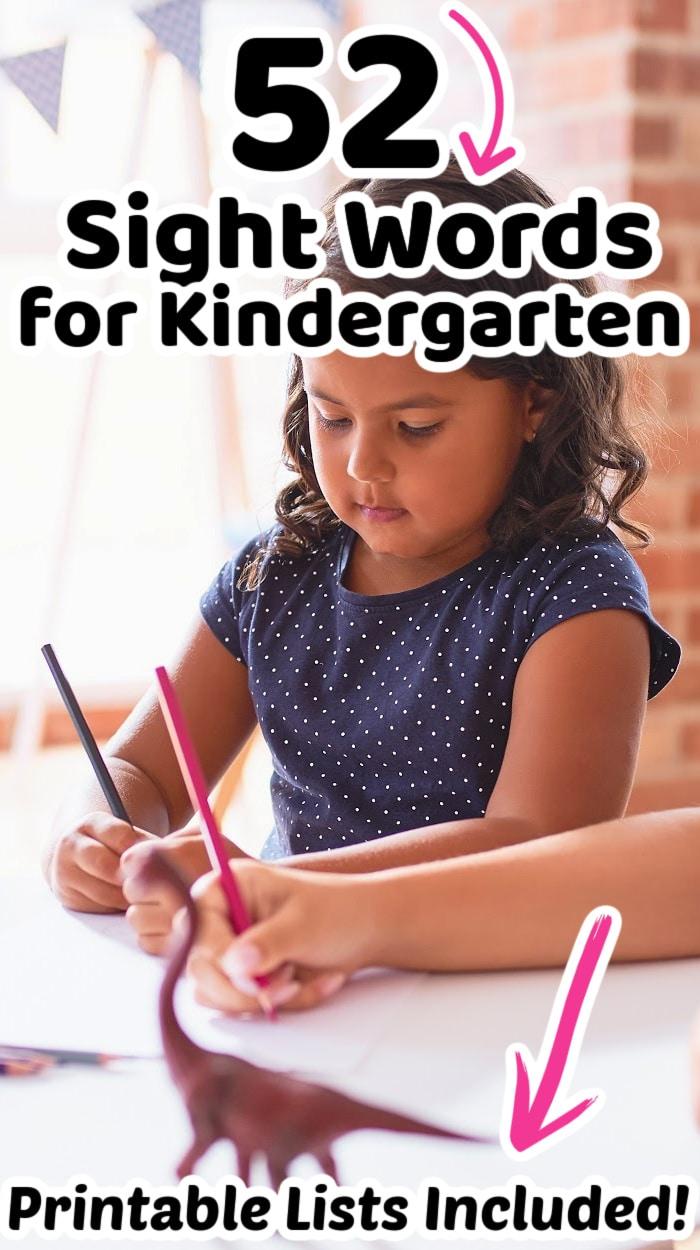 kindergarten sight words list