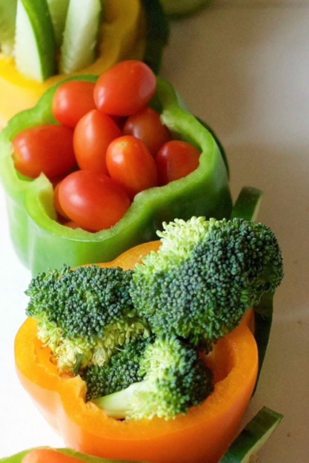 vegetables for the veggie tray train idea
