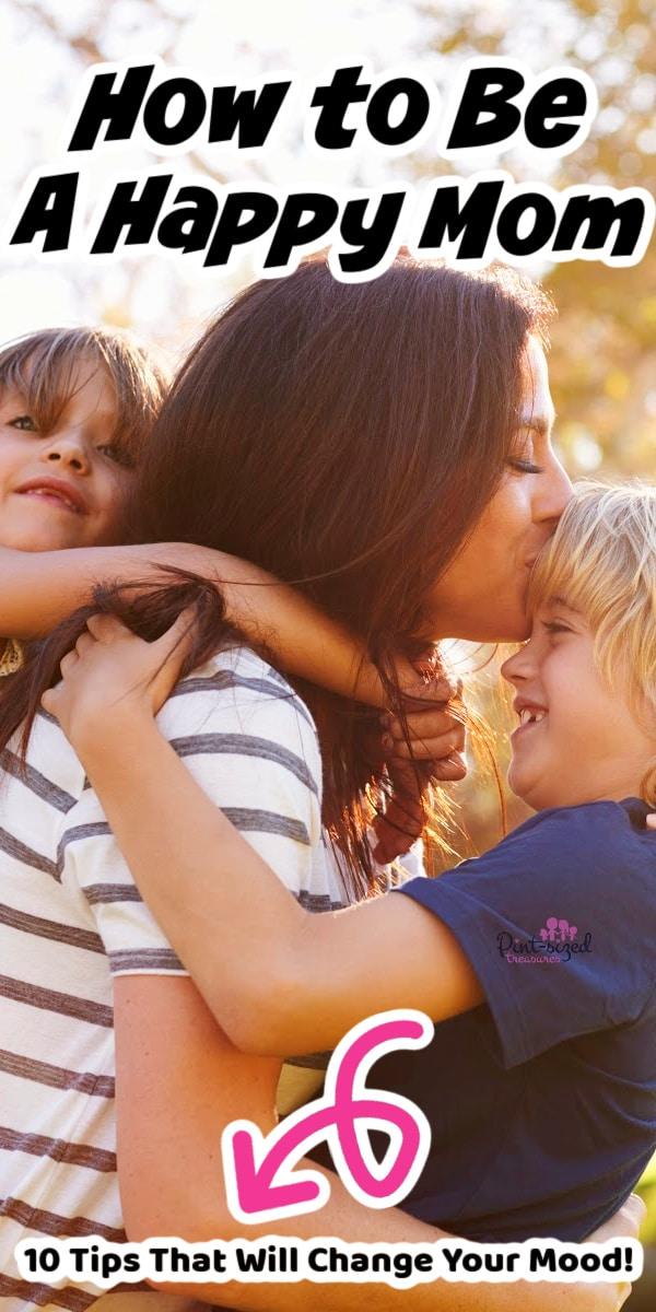 happy mom hugging her children