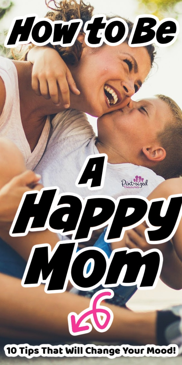 happy mom laughing with son