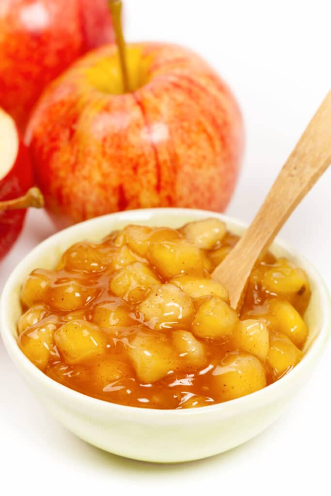 stirring apple sauce mixture for apple turnovers