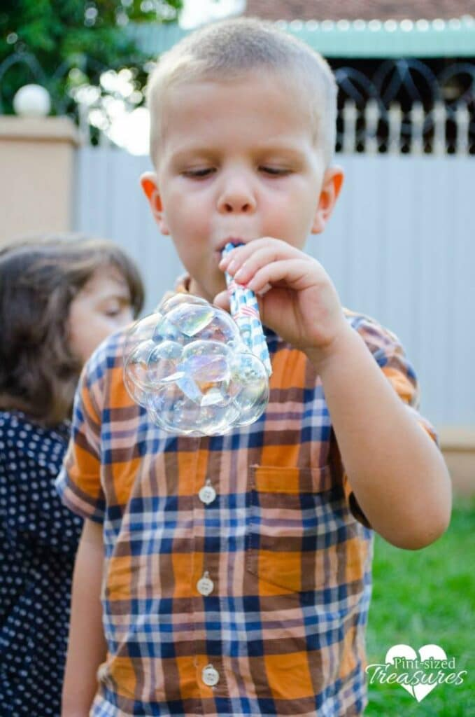 blowing bubbles for a kids activity