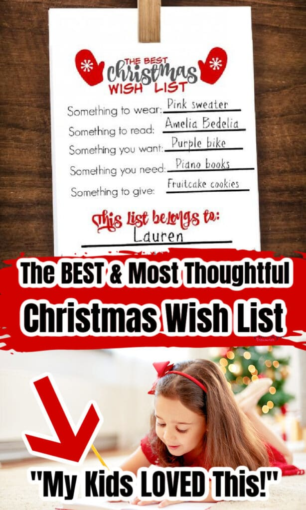 young girl writing out her Christmas wish list that was printed out