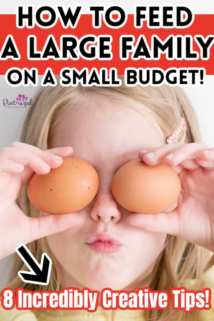 girl holding up eggs as family talks about how to feed a family on a budget