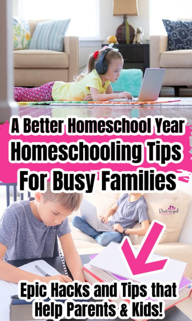 two kids doing homeschool together