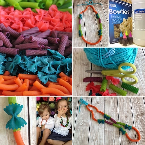 making pasta necklaces for a kids activity