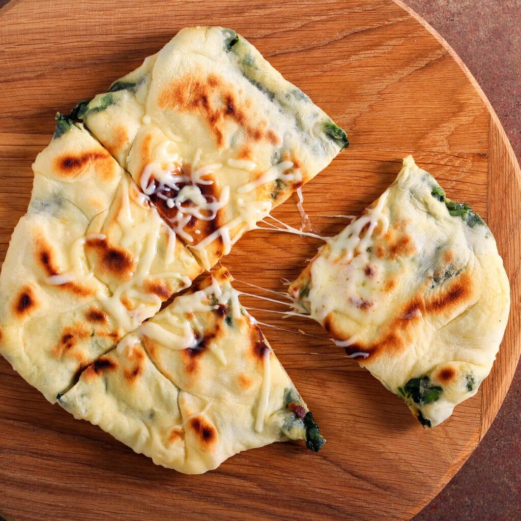 spinach tortilla pizza