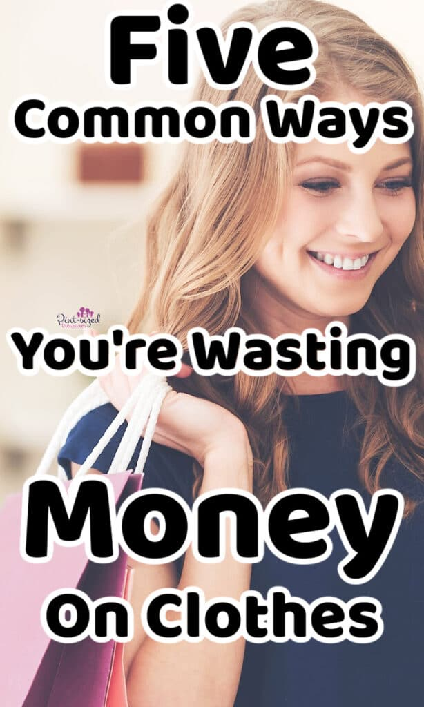 a woman is clothes shopping trying to save money